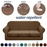 Granbest 4 Piece Premium Water-Repellent Sofa Slipcover for 3 Cushion Couch High Stretch Sofa Cover for 3 seat Sofa Super Soft Fabric Couch Cover for Dogs Pets Furniture Cover (Large, Coffee)