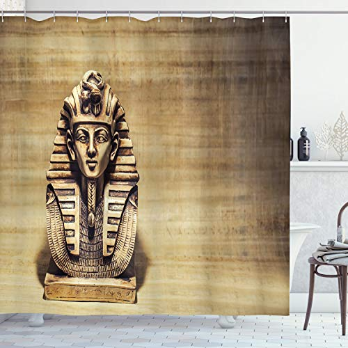 ambesonne egipcio Decor Collection, antiguo Egipto Faraón con una máscara de Anubis de niebla Impresión de fondo, tela de poliéster cortina de ducha de baño, color azul marino Oro dimgrey