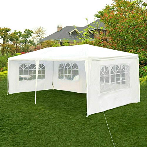 Tangkula Outdoor 10 x 20 Feet Canopy Tent, Party Wedding Tent with Removable Walls, Portable Canopy Shelter Gazebo Pavilion for Event, Backyard, White Tent w/Carry Bag (4 Sidewalls)