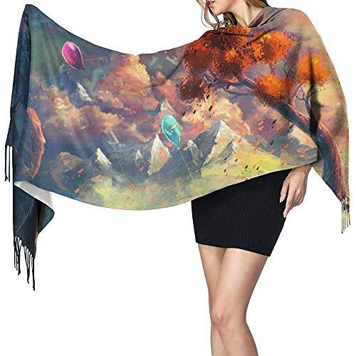 Niet toepasbare prachtige landschap kleurrijke ballonnen bedrukken kasjmier sjaal dames casual warme sjaal wrap sjaal groot