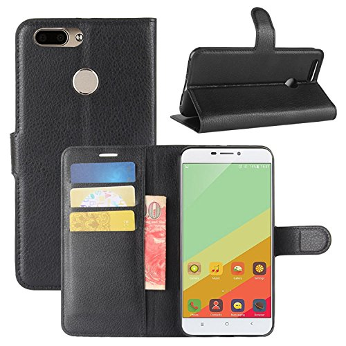 HualuBro Oukitel U20 Plus Hülle, Premium PU Leder Leather Wallet HandyHülle Tasche Schutzhülle Flip Hülle Cover für Oukitel U20 Plus Smartphone (Schwarz)