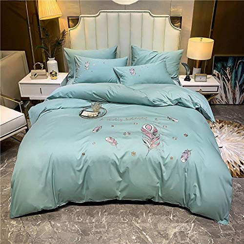 Bedding Set,New embroidered quilt cover sheet four-piece set cotton wedding set bedding-Bean green_1.8 bed (6 feet) bed quilt cover 200 * 230