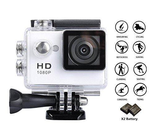GULEEK Sport Action Camera 1080p Full HD Obiettivo grandangolare 5,1cm Schermo LCD Impermeabile Fino a 30m Cam DV 5MP DVR Casco Sport Fotocamera con Custodia Impermeabile e Kit di Accessori, Nero
