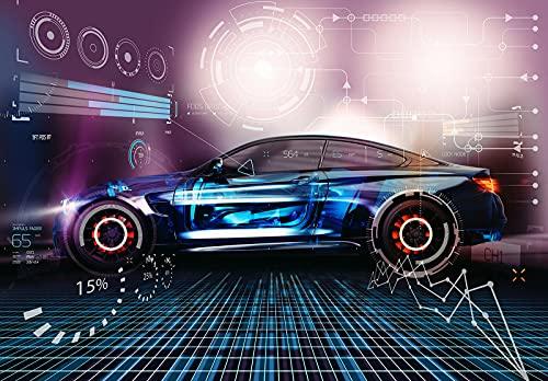 Fototapete Auto Gaming Sportwagen Kinderzimmer Graffiti Jungs Vlies Tapete Latexdruck UV-Beständig Geruchsfrei Hohe Auflösung Montagefertig (13913, V8 (368x254 cm) 4 Bahnen)