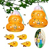 Wasp Trap Catcher-2+4 Pack-Outdoor,Reusable,Waterproof,Natural Wasp Killer- Insects Yellow Jacket, Hornets and Honey Bee Killer