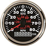 ELING Waterproof GPS Speedometer 0-80MPH Speed Gauge with Course for Marine with Backlight 3-3/8'' (85mm) 9-32V (LED Shows Course not Odometer)