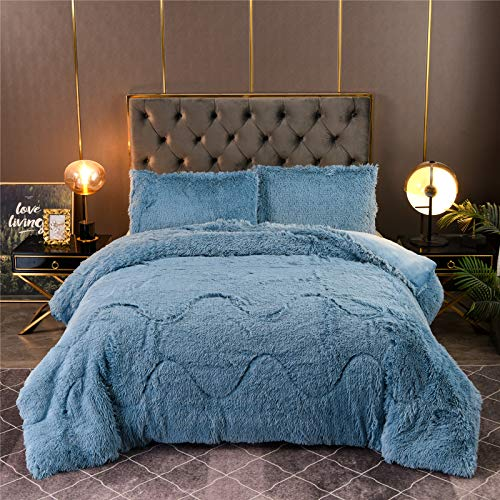 A Nice Night Luxury Solid Color, Plush Shaggy Ultra Soft Warm and Durable , Velvet Bedding Sets Quilt Comforter Set with Pillow Covers (Blue, Queen)