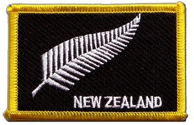Aufnäher Patch Flagge Neuseeland Feder All Blacks - 8 x 6 cm