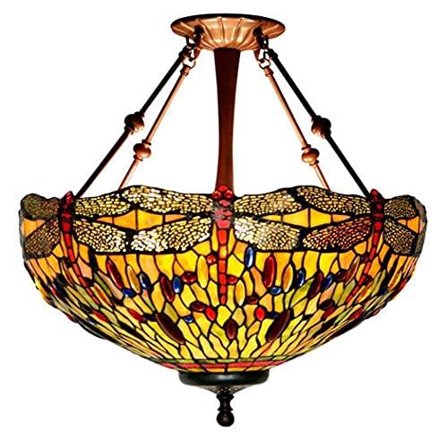 CHHD Lámpara de luz Lámpara Colgante Luces Colgantes de Vidrio con diseño de libélula de 20 Pulgadas, Sala de Estar Decoración de la Tienda Lámpara Principal