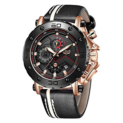 LIGE Relojes para Hombre Moda Acero Inoxidable Reloj analógico de Cuarzo Agua Hombres Negro Deportes Cronógrafo Reloj de Pulsera de Cuero (Negro Dorado)