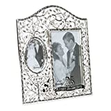 Roman 25th Happy Anniversary Filigree Leaf 9 x 8 Inch Zinc Alloy Table Top Picture Frame