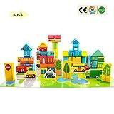 Kinder Gebäude Holzspielzeug Sätze, Blöcke Kinder Lernspielzeug Stadtverkehr Szene Blöcke Spiele Set Aufklärung Spielzeug, Am Besten Für 3, 4, 5, 6, 7 Und 8 Jährige