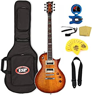 ESP LTD EC-1000 ASB Flamed Maple Top Guitar with Seymour Duncans Gig Bag Bundle, Amber Sunburst