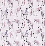 0,5m Jersey Zauber-Pferde mit rosa Mähne auf weiß digital