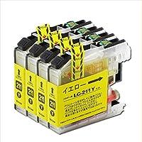ブラザー用 LC211Y 互換インク イエロー のみ 4本セット 全4本