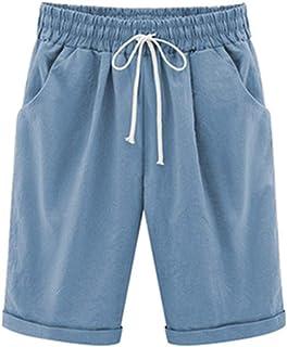 Hixiaohe Women's Summer Casual Solid Bermuda Shorts Knee Length Beach Shorts