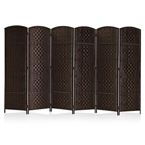 """RHF 6 ft. Tall- 19"""" X Wide-Diamond Weave Fiber Room Divider,Double Hinged,6 Panel Room Divider/Screen, Room Dividers and Folding Privacy Screens 6 Panel, Freestanding Room Dividers-Dark Coffee 6 Panel"""