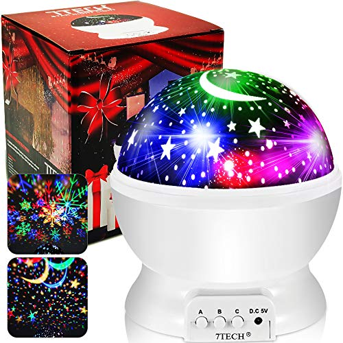 Star Projector - Night Light Projector for Kids 16 Colors Modes 2 Film, Ceiling Light Projector Lamp 360 Degree Rotation, Moon Star Night Light Snowflake for Adults Boys Girls Christmas Halloween