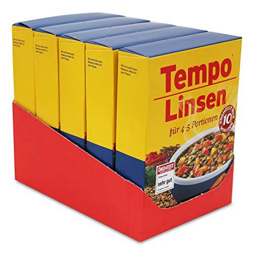 5er Sparpack Tempo Linsen, (5 x 225 g) für je 4 - 5 Portionen, schnell und einfach zuzubereiten Linsengericht Linseneintopf