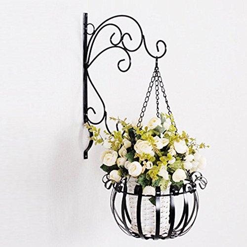 Étagères de porche Suspension Flower Stand, Iron Flower Racks Mur suspendu Paniers de fleurs rondes Support de plante de boîte à fleurs (Couleur : D, taille : 54 * 26CM)