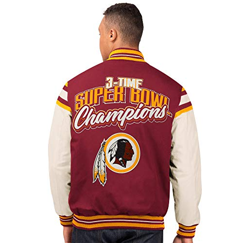 G-III Sports Washington Redskins Men's 3 Time Super Bowl Champions Victory Formation Varsity Jacket (X-Large)