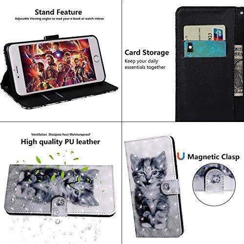 DodoBuy 3D Hülle für Huawei Y6 2019/Honor 8A, Flip PU Leder Schutzhülle Handy Tasche Brieftasche Wallet Case Cover Ständer mit Kartenfächer Trageschlaufe Magnetverschluss - Katze - 2