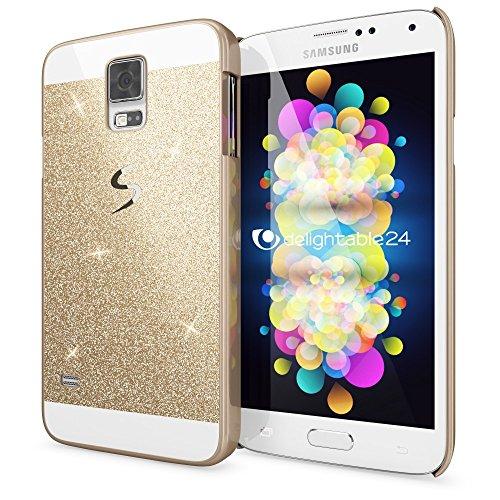 NALIA Custodia compatibile con Samsung Galaxy S5 S5 Neo, Glitter Protezione Hard-Case Sottile Cover Protettiva Cellulare, Copertura Rigida Telefono Bumper Scintillio - Gold Oro
