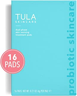 TULA Probiotic Skin Care Instant Facial Dual-Phase Skin Reviving Treatment Pads (16 pads)   Lactic Acid Pads to Exfoliate and Brighten Skin, Instant Facial