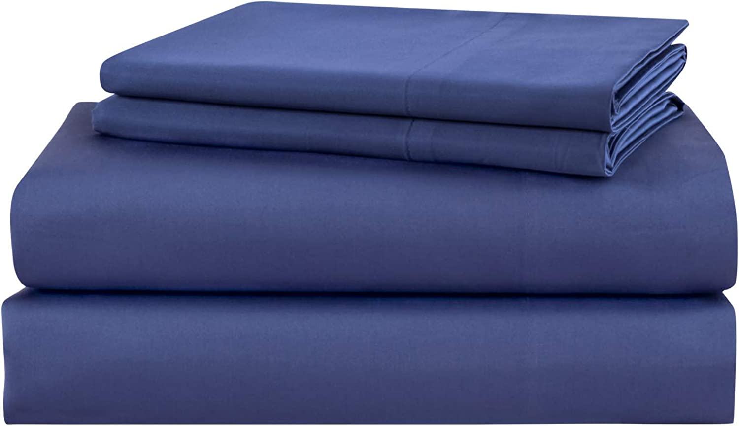 PHF 800 Thread Count Cotton Rich Bed Sheet Set Satin Weave Deep Pocket Cozy Durable Wrinkle Resistant 4 Pieces King Size Royal bluee