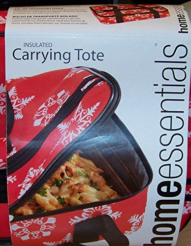 Home Essentials Insulated Carrying Tote with Pyrex 3 Qt Oblong Baking Dish & Lid - Holiday Snowflakes