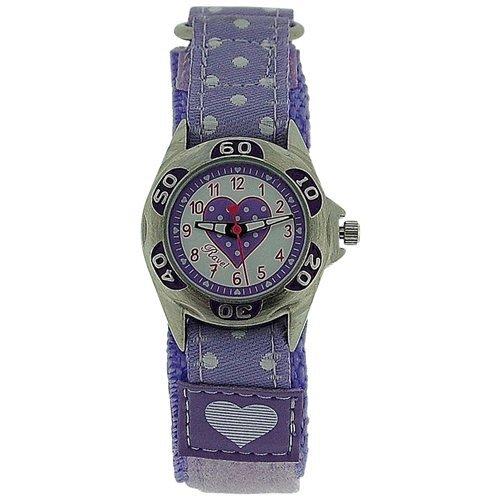 RAVEL Mädchen Zeitlern-Armbanduhr mit fliederfarbenen Herzen und Armband mit Klettverschluss R1507.23