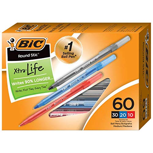 BIC Round Stic Xtra Life Ballpoint Pens, Medium Point, 1.0 mm, Assorted Colors, Pack of 60 Pens