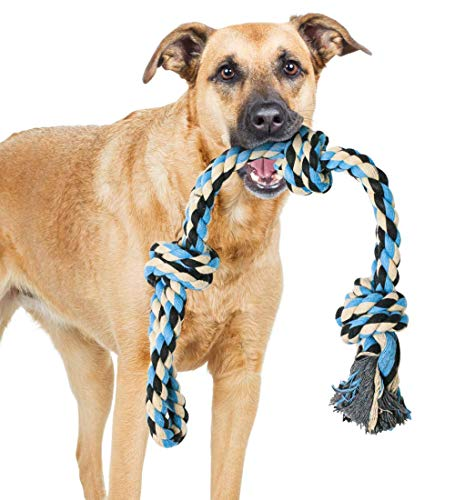 XL Dog Rope Toy for Aggressive CHEWERS - Benefits Non-Profit Dog Rescue - Extra Large Dog Rope Toys for Large Dogs - Large Dog Toy Floss - Nearly Indestructible Dog Toys (Blue)