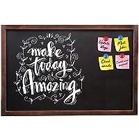 磁気黒板 木製フレーム ブラックチョークボード 24 x 36インチ 大型 ヴィンテージ 素朴なフレーム 壁取り付け サインボード イレーザーマグネット付き 結婚式サイン キッチン メニュー 学校 子供用