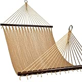 Lazy Daze 12 FT 2-Person Caribbean Hammock, Hand Woven Polyester Rope with Spreader Bars for Beach, Backyard, Patio, 450 LBS Weight Capacity, Tan