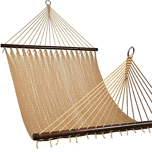 Lazy Daze 2-Person Caribbean Rope Hammock, Hand Woven Polyester Rope with Spreader Bars for Beach, Backyard, Patio, 450 LBS Weight Capacity, Tan