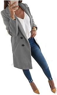 neveraway Women Lapel Wool Blend Fall Winter Mid-Long Oversized Coat Jacket