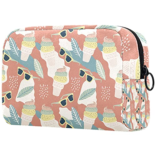 Yitian Bolsa de cosméticos para mujeres con hielo y gafas, adorables y espaciosas bolsas de maquillaje de viaje