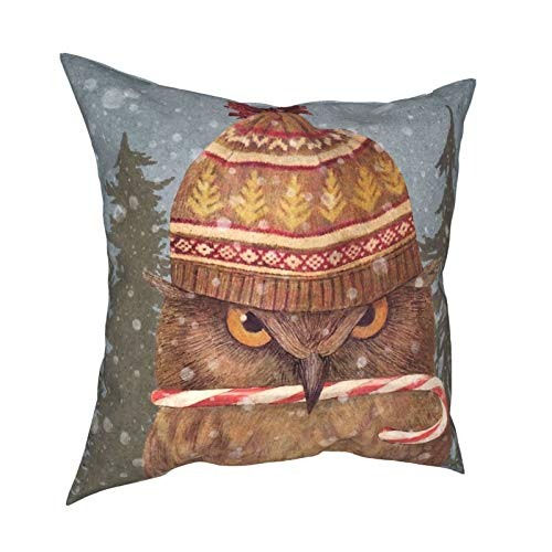 Hustor Christmas Owl Throw Pillow Covers Decorative Couch Pillow Case for Sofa Home Couch Bed Holiday Decorations 18x18 inch
