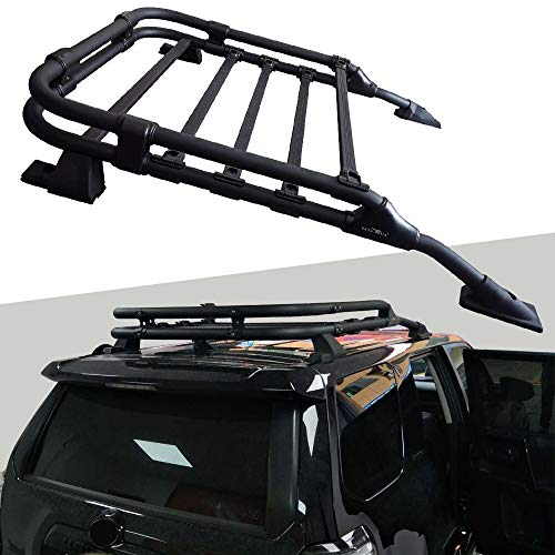 Snailfly Roof Basket Rack Fit for 2010-2021 Toyota 4Runner Black Powdercoat TRD Style Rooftop Luggage Cargo Carrier