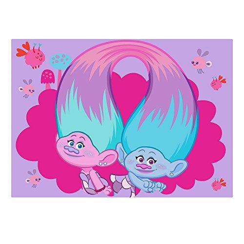 GUIZMAX Compatible avec Tapis Enfant Les Trolls 133 x 95 cm Disney