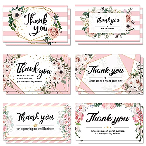 120 Thank You Business Cards Small Thank You for Your Order Shopping Purchase Note Cards to Customer, Pink Floral Design Appreciation Cards for Small Business Online Owners Sellers, 3.5 x 2 Inch