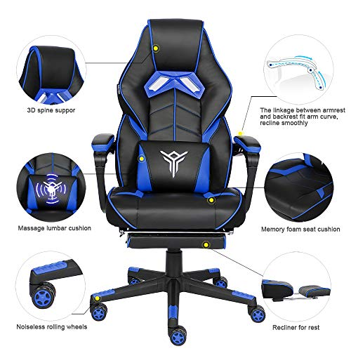 YOURLITEAMZ Racing Gaming Chair with Footrest and Massage Lumbar Pillow, Swivel Height Adjustable Reclining PU Leather Video Game Chair, E-Sports Gaming Chair Big and Tall (Blue) chair footrest gaming