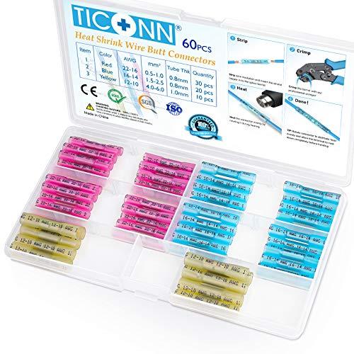 TICONN Heat Shrink Butt Connectors Kit, Insulated Waterproof Electrical Marine Automotive Wire Crimp Terminals, Butt Splice (3 Colors / 3 Sizes) (60PCS)