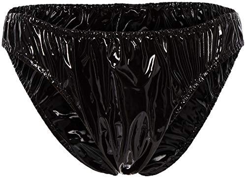 Honour Slip de bikini en PVC pour homme Noir
