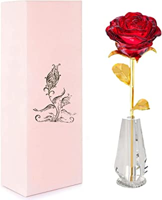 Satisfa Forever Rose 24 K Gold Rose with Crystal Clear Vase for Valentine's Day Anniversary Wedding Invitations Birthday Gifts Bedroom Decor