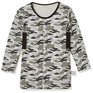 [ガロー] 男の子 子供用介護肌着 便利な機能付き前開き長袖 迷彩柄 800163 グレー 日本 150 (日本サイズ150 相当)