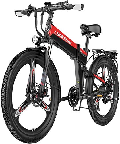 Ebikes, Folding Electric Mountainbike With, 26' Beach Snow Bicycle,48v Removable Lithium Battery,400 W City Commuter Ebike,Premium Full Suspension ,21 Speed Shock-Absorbing Mountain Bicycle,Red,10.4ah