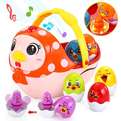 Baby Music Toy, Baby Einstein Toys with Melodies, Vatos Infant Toys for 12M - 16 M - 24M +, Multifunctional Learning Toys for Toddler | Plays Music | Color Changing Lights, Rolling Wheel | Easter Eggs