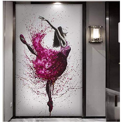 """HYFBH Impresiones en Lienzo Elegante Bailarina Bailarina Pintura al óleo Resumen Ballet Girl Pintura Mural Grandes lienzos 1 Pieza Carteles 60x90cm (23.6""""x35.4) con Marco"""